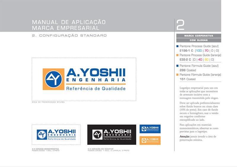 logotipo oficial brand guide construtora A.Yoshii