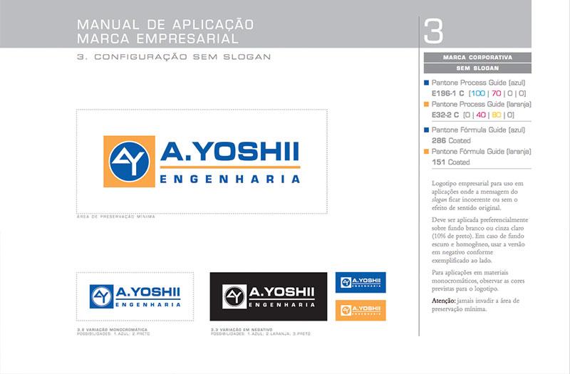 logotipo sem slogan Brand guide construtora A.Yoshii