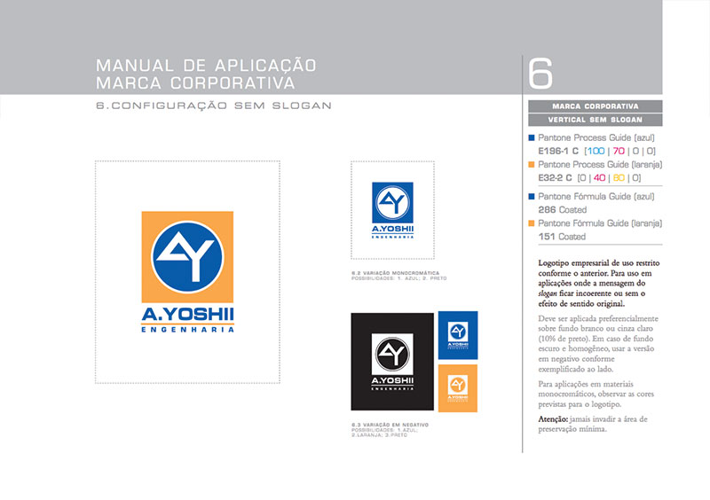 logotipo vertical Brand guide construtora A.Yoshii