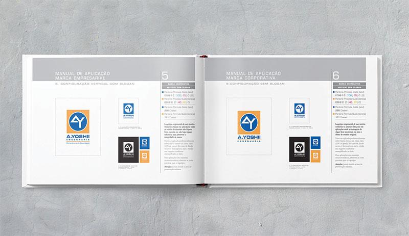 logotipo vertical com sem slogan Brand guide construtora A.Yoshii