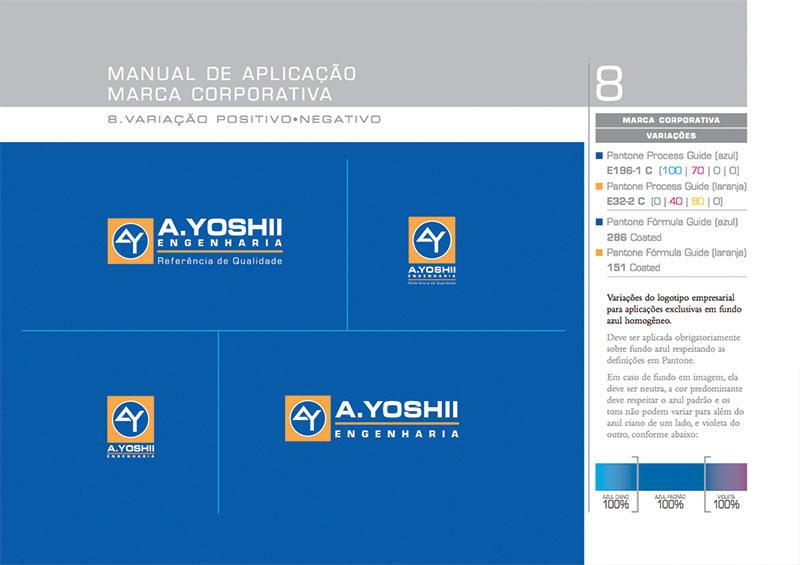 logotipo fundo escuro Brand guide construtora A.Yoshii
