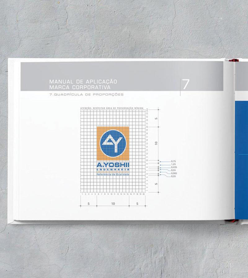 logotipo grid vertical Brand guide construtora A.Yoshii