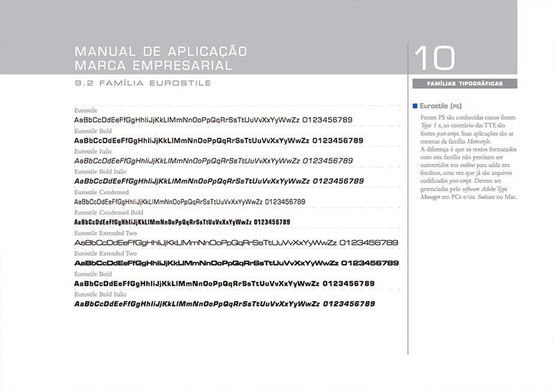 tipografia fonte eurostile Brand guide construtora A.Yoshii