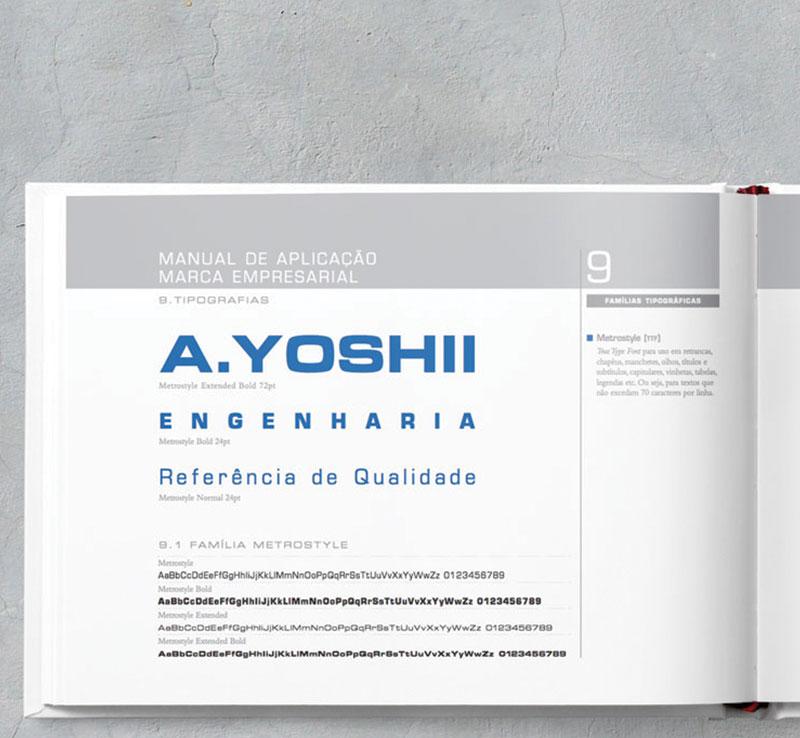 familia tipografica Brand guide construtora A.Yoshii