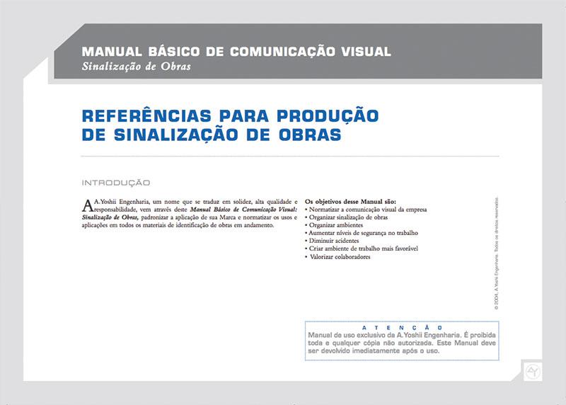 introdução Brand guide comunicação visual de obra construtora A.Yoshii