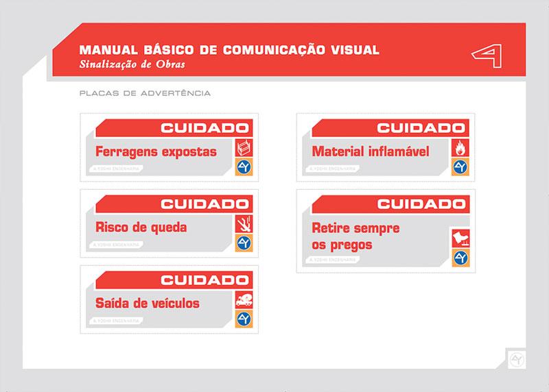 placas advertencia Brand guide comunicação visual de obra construtora A.Yoshii
