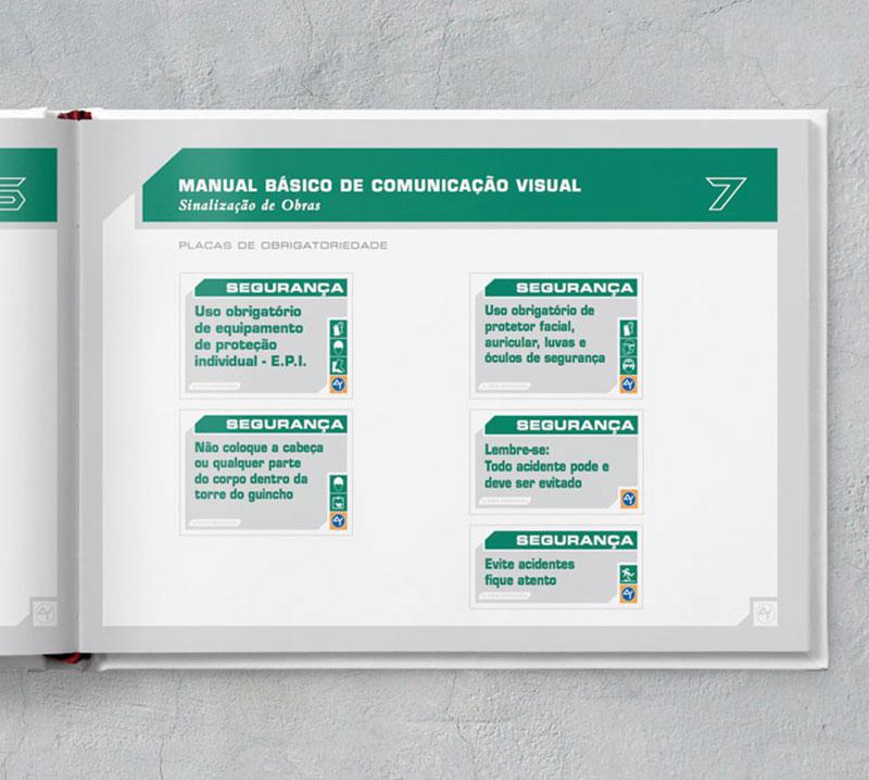 placas segurança Brand guide comunicação visual de obra construtora A.Yoshii