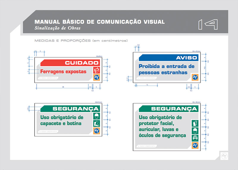 medidas proporções placas identificação Brand guide comunicação visual de obra construtora A.Yoshii