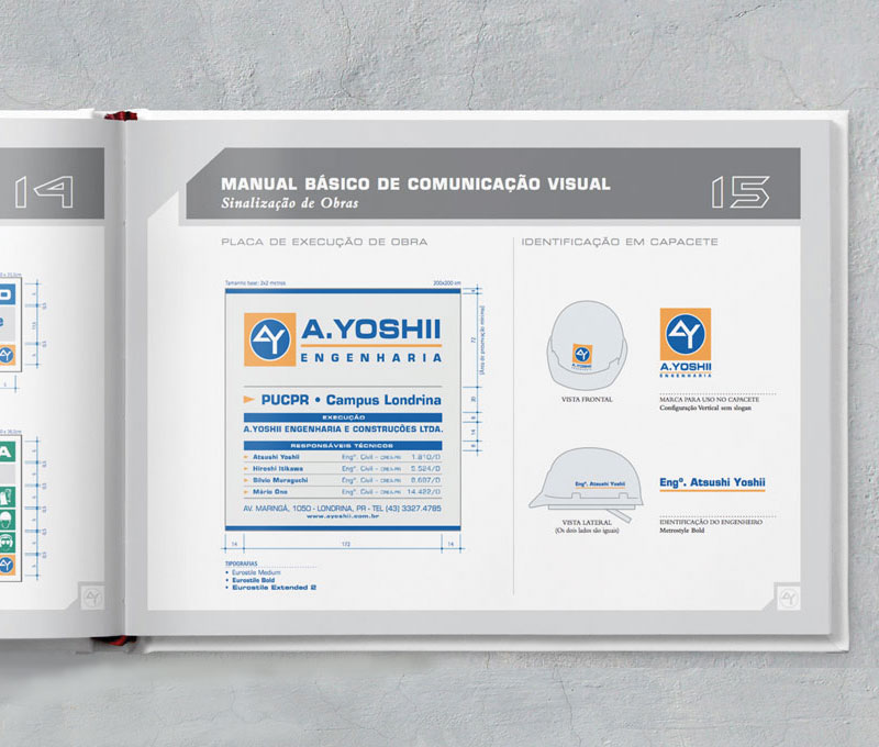 placa de obra capacete engenheiro Brand guide comunicacao visual de obra construtora A.Yoshii
